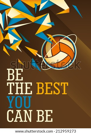 Abstract volleyball poster in color Vector illustration