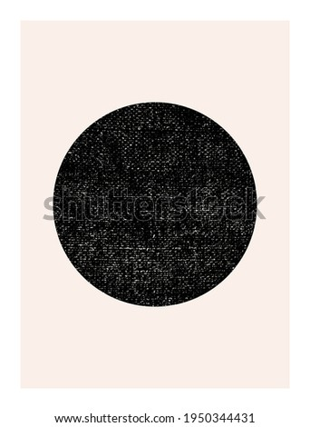 Abstract wall art. Inspired by mid century modern design contemporary vector geometric background. Minimalist poster template with simple geometric black shapes and isolated worn out texture in beige  Stock photo ©