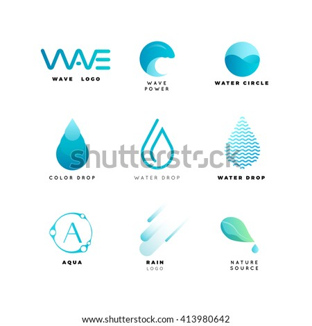 abstract water logo set wave