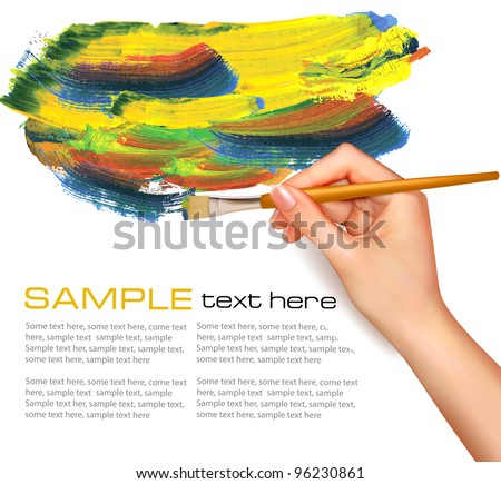 Abstract watercolor background with hand. Vector illustration.
