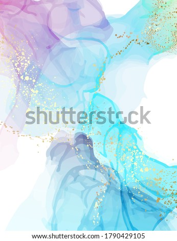 Abstract watercolor blue marble painting, modern liquid background, trendy wall gradient poster, abstract art in vector, fine art pattern,  hologram ink fluid .