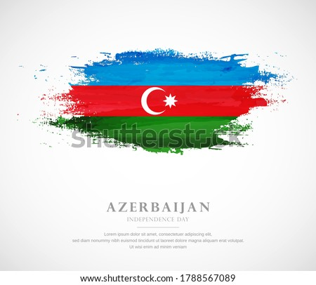 Abstract watercolor brush stroke flag for independence day of Azerbaijan