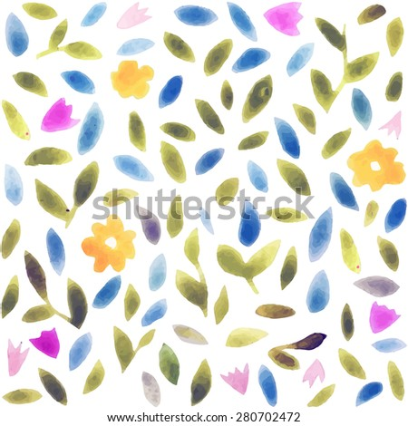 Abstract watercolor flower pattern. Modern pattern with small leaves and flowers. Pastel colors. Watercolor trend drawings for fashion design, apparel and textile, wrapping