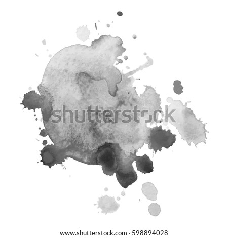 Abstract watercolor grayscale background. Vector illustration. Grunge texture for cards and flyers design. A model for the creation of digital brushes