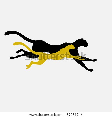 Abstract watercolor illustration of two running cheetah (color yellow, white and black), force logo, emblem of power, pattern free animals, vector print, business banner, art fashion design logo