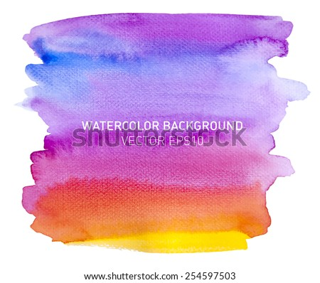 Abstract watercolor rainbow gradient background. Sky with yellow and orange sunset. Hand drawn painting on texture paper. Vector illustration.
