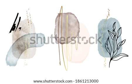 Abstract watercolor shapes, vintage art background with watercolour stain elements vector. Painting brush texture decoratio, gouache wall poster,  acrylic website design, social media branding.