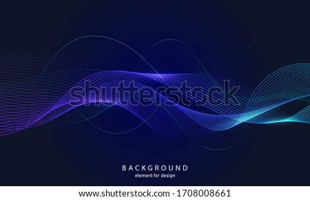 Abstract wave background. Element for design. Digital frequency track equalizer. Stylized line art.  Curved wavy line smooth stripe Vector