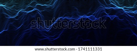 Abstract wave background. Music or sound illustration. Big data technology. Artificial intelligence concept. Network visualisation. Photo stock ©