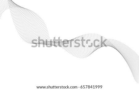 Abstract wave element with dotted for design. Digital frequency track equalizer. Stylized line art background. Vector