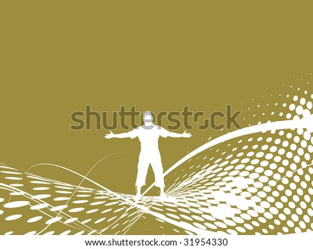 Abstract wave halftone background with man raising his hands
