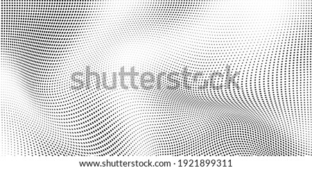Abstract wave halftone black and white. Monochrome texture for printing on badges, posters, and business cards. Vintage pattern of dots randomly arranged Foto stock ©