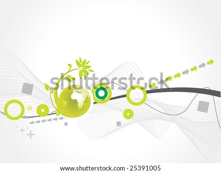 Abstract wave line illustration with flora globe