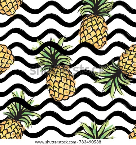 Abstract wave pattern with pineapple. Stylish geometric background. Fruit ornamental wallpaper. Tropical food stripe texture