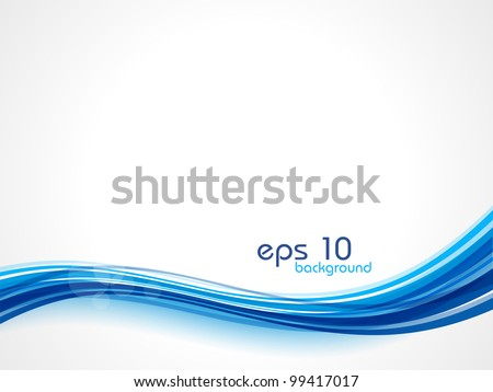 Abstract waves background in blue color, isolated on white.  EPS 10. Can be used for flyers and corporate presentations.