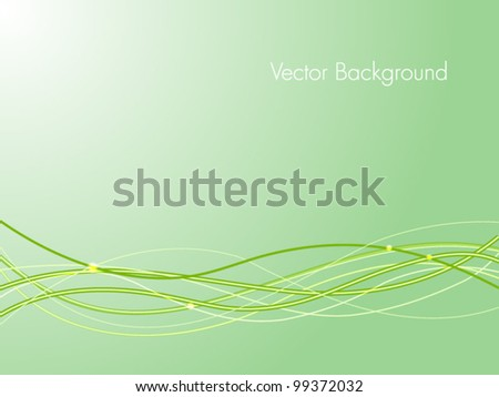 Abstract waves background in green color on light green background. EPS 10. - stock vector