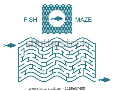 Abstract waves maze / labyrinth for fish. Vector labyrinth with entry and exit. Puzzle game.