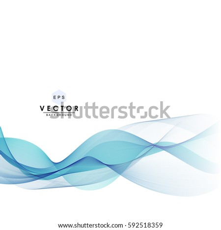 Abstract waves vector background, blue transparent waved lines for website, brochure, flyer, banner, newsletter, magazine, booklet, leaflet, card design. Blue smoke wave abstract. Blue wavy background