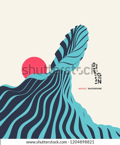 Abstract wavy background. Asian illustration of ocean waves and sun. Cover design template. Futuristic vector pattern.