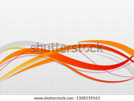 Abstract wavy background. Wavy lines on a gray dot background.