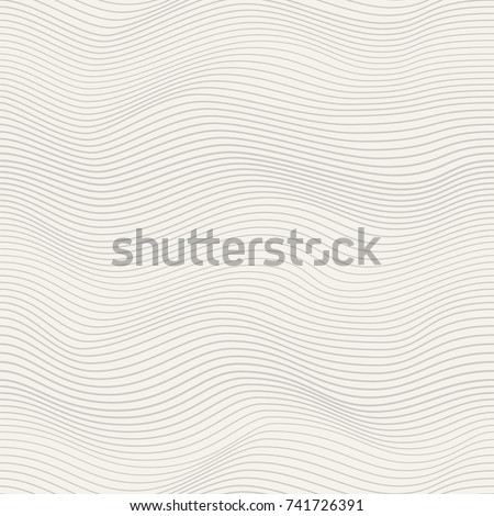 Abstract wavy background with curved lines smoothly changing its shape. Seamless vector pattern imitating texture of the wood cut or board. Curved forms of variable shape and thickness. Modern design.