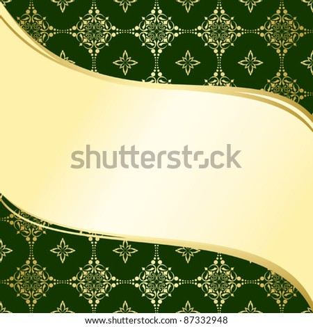 abstract wavy green and gold background  with tracery - vector
