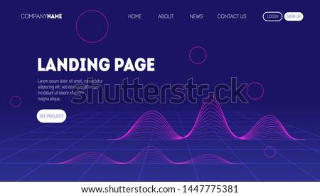 Abstract wavy landing page. Trendy and modern digital background.