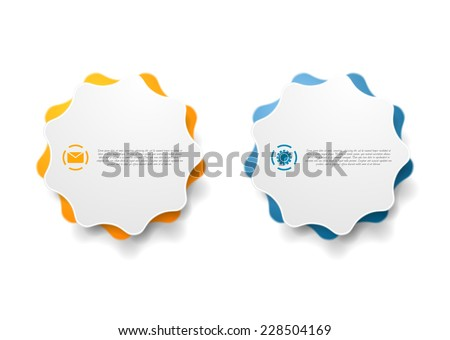 Abstract wavy shape sticker design. Vector background