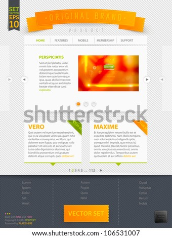 Abstract web site template design, vector eps10 | Abstract orange blur background