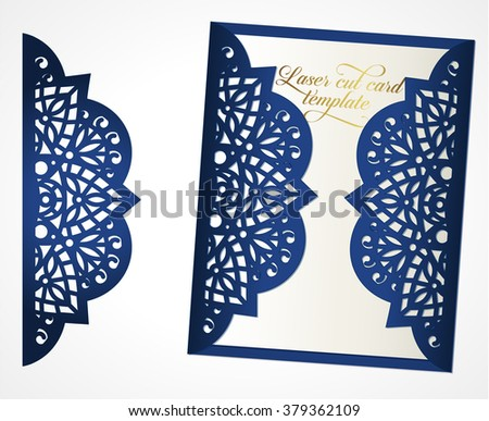 Abstract Wedding Cutout Invitation Template May Be Used For Laser Cutting Or Die