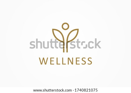 Abstract Wellness Logo. Gold Linear Style Leaf and People Combination isolated on White Background. Usable for Nature, Cosmetics, Healthcare and Beauty Logos. Flat Vector Logo Design Template Element.