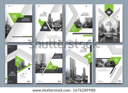 Abstract white a4 brochure cover design. Fancy info banner frame. Modern ad flyer text. Annual report binder. Title sheet model set. Fancy vector front page. City font blurb art. Green line figure