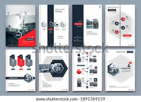 Abstract white a4 brochure cover design. Fancy info banner frame. Modern ad flyer text. Annual report binder. Title sheet model set. Fancy vector front page. City font blurb art. Red line figure