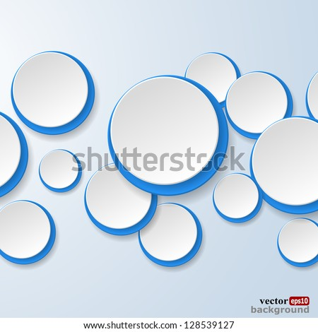 Abstract white and blue paper circles on light blue background. Vector eps10 illustration