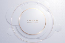 Abstract white and gold circle shapes background