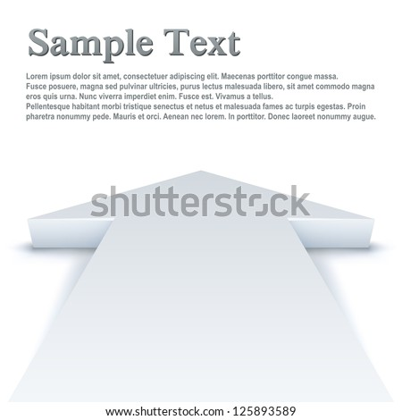 Abstract white arrow pointing straight ahead business vector background with copy space.