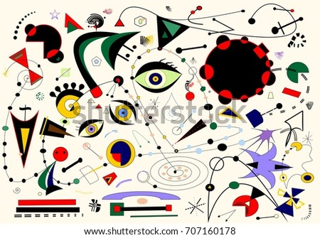 Shutterstock Abstract white background ,inspired by the  painter Miro