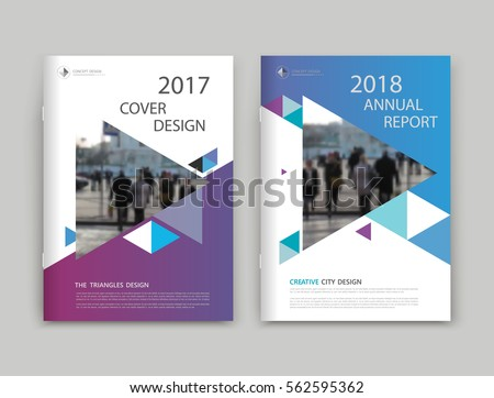 Abstract white, blue, purple brochure cover design. Info banner frame. Fancy ad flyer font. Title sheet model set. Modern vector front page. Creative urban city texture. Pedastrian people figure icon