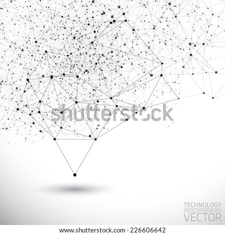 Abstract white bright technology vector background. Connection structure. Vector science background. Polygonal vector background
