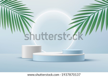 Abstract white cylinder pedestal podium, Light blue empty room with green palm leaf, Shine neon ring backdrop. Vector rendering 3d shape, Product display presentation. Pastel room minimal wall scene.