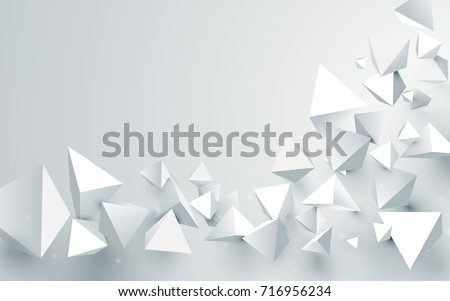 Abstract white 3d pyramids chaotic background. Vector illustration
