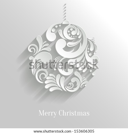 Abstract White Floral Christmas Ball, creative vector illustration