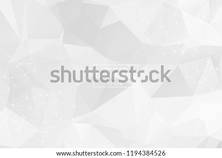 Abstract White Geometric Polygonal background molecule and communication. Connected lines with dots. Concept of the science, chemistry, biology, medicine, technology.