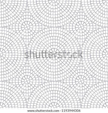 Abstract white mosaic seamless pattern with gray luting. For design and decorate backdrop. Gray art Ceramic tile fragments. Vector background. Broken tiles trencadis circle mosaic.