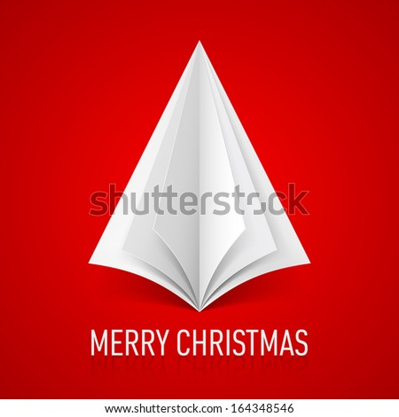 Abstract white paper Christmas tree on red background.