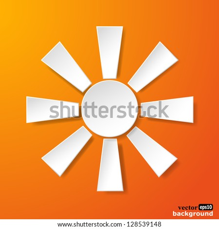 Abstract white paper sun on orange background. Vector eps10 illustration