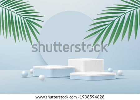 Abstract white round corner pedestal podium, Light blue empty room with green palm leaf, blue and white sphere. Vector rendering 3d shape, Product display presentation. Pastel room minimal wall scene.