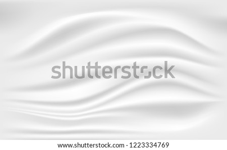 Abstract White Satin Silky Cloth,Fabric Textile Drape with Crease Wavy Folds.with soft waves,waving in the wind.Texture of crumpled paper. Milk,Yogurt,Cream or cosmetics product Curl background.vector