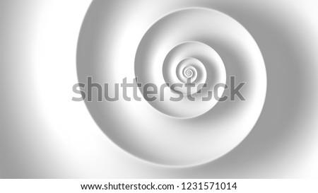 Abstract white spiral background. Fibonacci spiral background.
