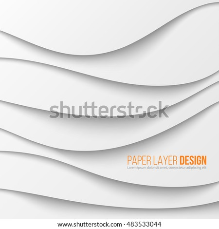 Abstract white waved paper layers with drop shadows. Vector illustration